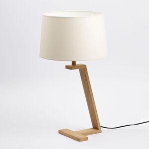 Aluminor Stolní lampa Memphis LT ze dřeva a látky, bílá