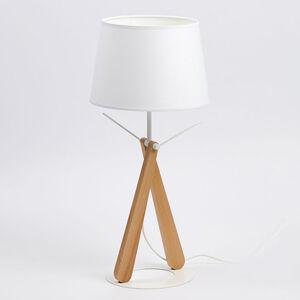 Aluminor Stolní lampa Zazou LT bílá / dřevo světlé