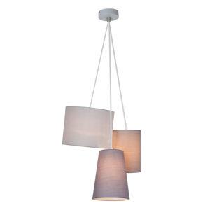 Brilliant Tříbaňkové závěsné světlo s tkaninovými stínidly