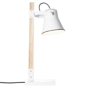 Brilliant Stolní lampa Plow, bílá dřevo světlé