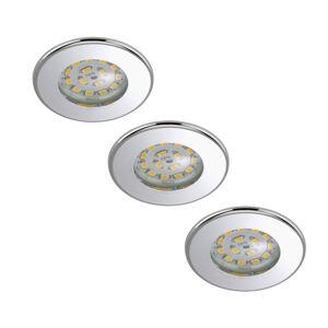Briloner Sada 3 LED podhledových svítidel Nikas IP44 chrom