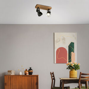 Briloner Stropní reflektor Arbo s dřevěným prvkem, 2 zdroje