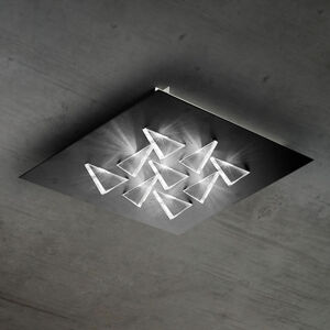 BRAGA LED stropní svítidlo Cristalli 50x50 cm černé