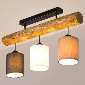 BRITOP Stropní světlo Sachiko, dřevěný trám tři stínidla