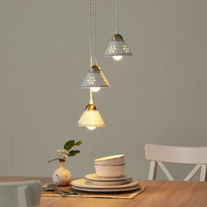 Ceramiche 3zdrojové závěsné světlo NONNA z bílé keramiky