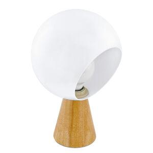 EGLO Mamblas stolní lampa, dřevěná noha, stínidlo koule