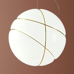 Fabbian Fabbian Armilla skleněné závěsné světlo bílá zlatá