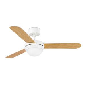 FARO BARCELONA Stropní ventilátor Feroe se světlem, bílá/javor