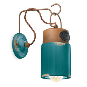 Ferro Luce Nástěnné světlo C1621, keramika a kov, zelená