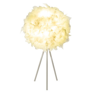 Globo Stolní lampa Katunga, třínohá s pravým peřím