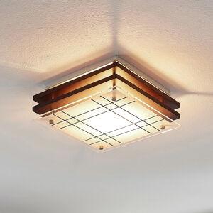 Lindby Dřevěné světlo Thees skostkovaným sklem, 23,5cm