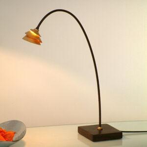 J. Holländer Stolní lampa Snail hnědo-zlatá, oblouk