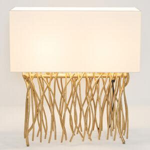 J. Holländer Stolní lampa Capri, hranatá, ecru/zlatá