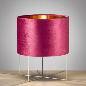 FISCHER & HONSEL Stolní lampa Aura, samet, výška 43 cm, červená