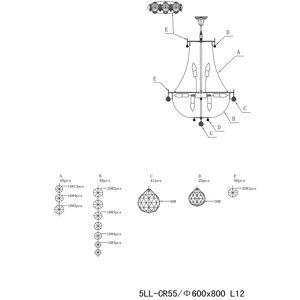 Clayre & Eef Lustr CR55, dvanáct zdrojů, se skleněným ověsem