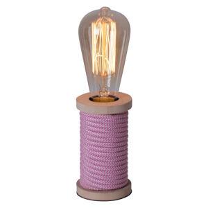 Näve Stolní lampa Max s dřevěnou nohou růžová