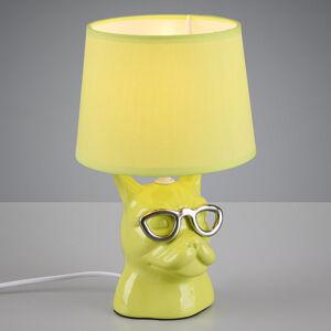Reality Leuchten Stolní lampa Dosy se psí tváří, zelená