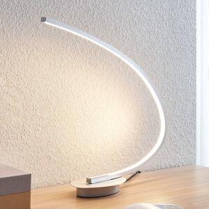Lindby Stolní LED svítidlo Nalevi, obloukovité, stříbro