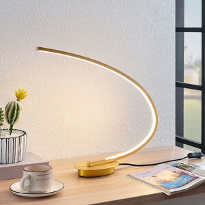 Lindby Stolní LED svítidlo Nalevi, obloukový tvar, zlato