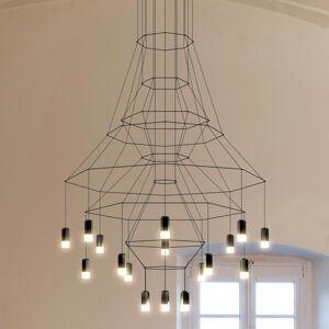 Vibia LED závěsné světlo Vibia Wireflow, černé, 279 cm