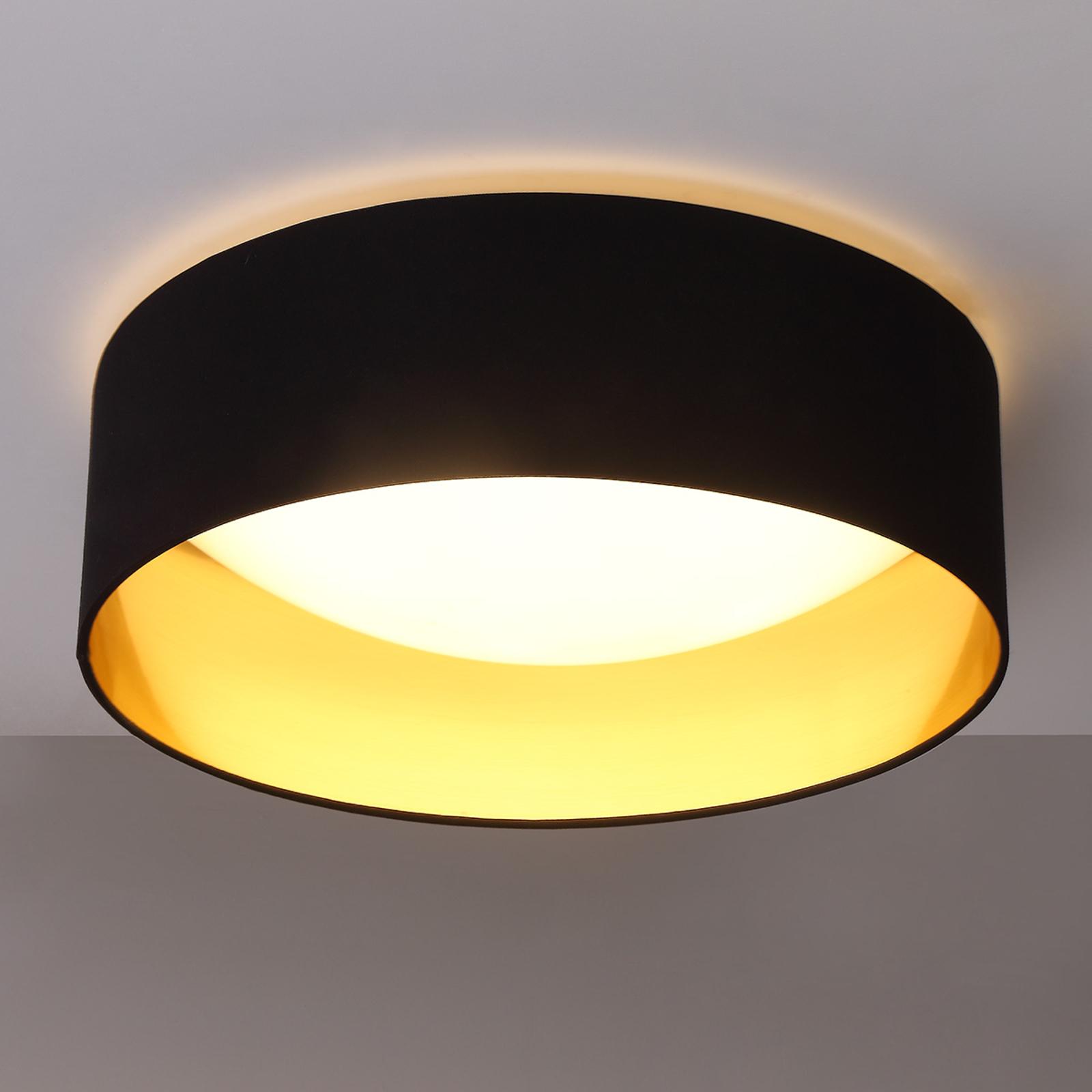 Lindby Textilní strop.lampa Coleen v černé, zlatá uvnitř