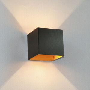Arcchio Černá nástěnná LED lampa Aldrina, uvnitř zlatá
