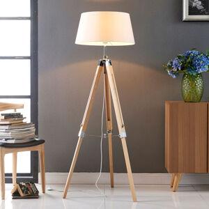 Lindby Podlahová lampa Katie s třínohým dřevěným stojanem