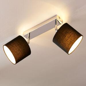 Lindby Stropní LED lampa se stínidlem, 2bodová černá