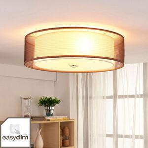 Lindby Hnědá textilní stropní LED lampa Tobia, Easydim