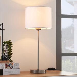 Lindby Bílá stolní lampa Annatina s textilním stínítkem