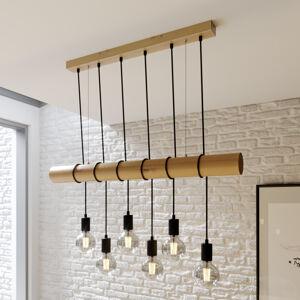 Lindby Dřevěné závěsné světlo Eviton, 6zdrojové, přírodní