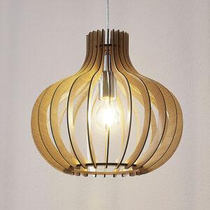 Lindby Dřevěné závěsné světlo Sina ve tvaru balónu světlé