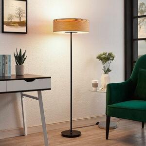 Lampenwelt.com Dřevěná stojací lampa Dominic, kulatá
