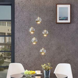 Lucande LED závěsné světlo Hayley, 5zdrojové, kulaté zlaté