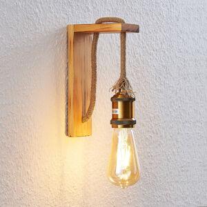 Lindby Dřevěné nástěnné světlo Helou s viditelnou paticí
