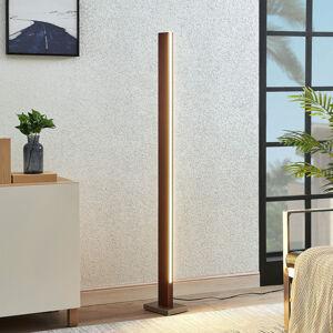 Lucande LED dřevěná stojací lampa Tamlin, tmavě hnědá