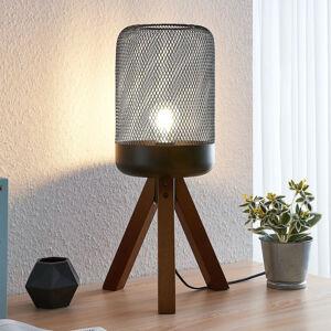 Lindby Lindby Eymen tripod stolní lampa s klec. stínidlem