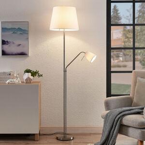 Lindby Lindby Nantwin stojací lampa, látk. stínidlo, bílá