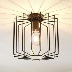 Lindby Lindby Agosto stropní světlo, kovová klec, černé
