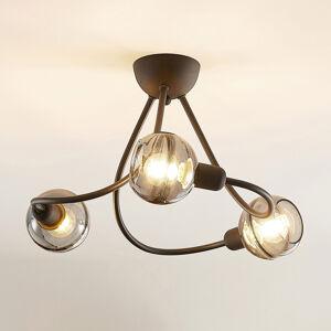 Lucande Lucande Able strop světlo, kouřové sklo, třížár.