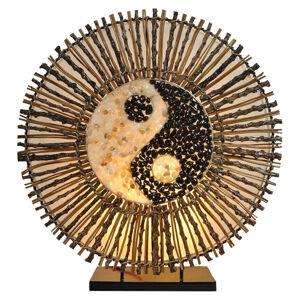 Woru Stolní lampa Ying Yang Batur kulatá 40 cm hnědá