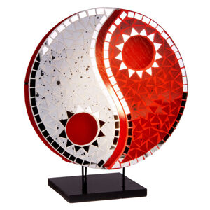 Woru Stolní lampa Ying Yang mozaikové selenity červená