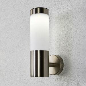 Lindby Válcovitá LED solární nástěnná lampa Aleeza, nerez