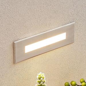 Lucande LED nástěnné vestavné svítidlo Doga, nerez 19,5 cm