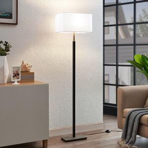 Lampenwelt.com Textilní stojatá lampa Belira, bílá, hranatá