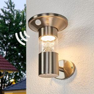 Lindby LED solární nástěnné světlo z nerezu Jalisa senzor