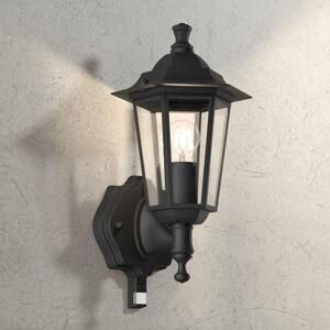 Brilliant Venkovní nástěnné světlo Crown černé s senzro