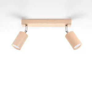 SOLLUX Stropní reflektor Cre ze dřeva, dva zdroje