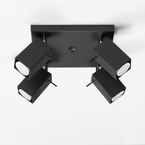 SOLLUX Stropní reflektor Square, černý, 4 zdroje, čtverec