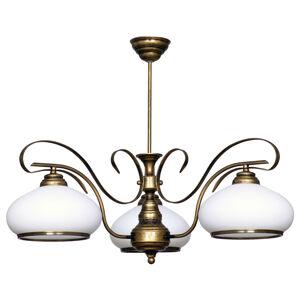 ALDEX Závěsné světlo 493 opálová/zlatá antická, 3 zdroje